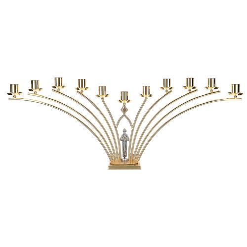 Candelabro para misa de latón con santo 11 llamas h. 30 cm 1