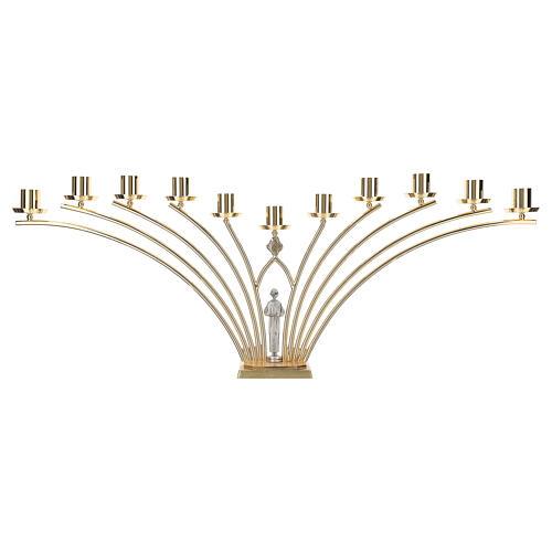 Candelabro para misa de latón con santo 11 llamas h. 30 cm 5