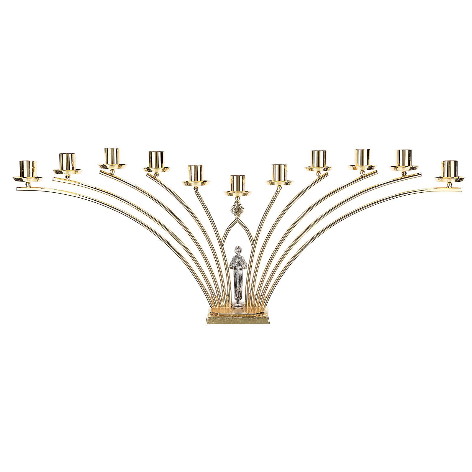 Lumiere per mensa in ottone con santo a 11 fiamme h. 30 cm 4
