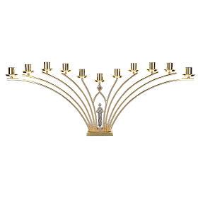 Lumiere per mensa in ottone con santo a 11 fiamme h. 30 cm s1