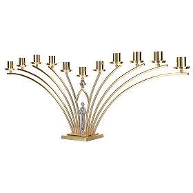 Lumiere per mensa in ottone con santo a 11 fiamme h. 30 cm s3