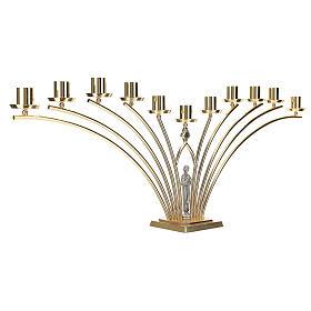 Lumiere per mensa in ottone con santo a 11 fiamme h. 30 cm s4