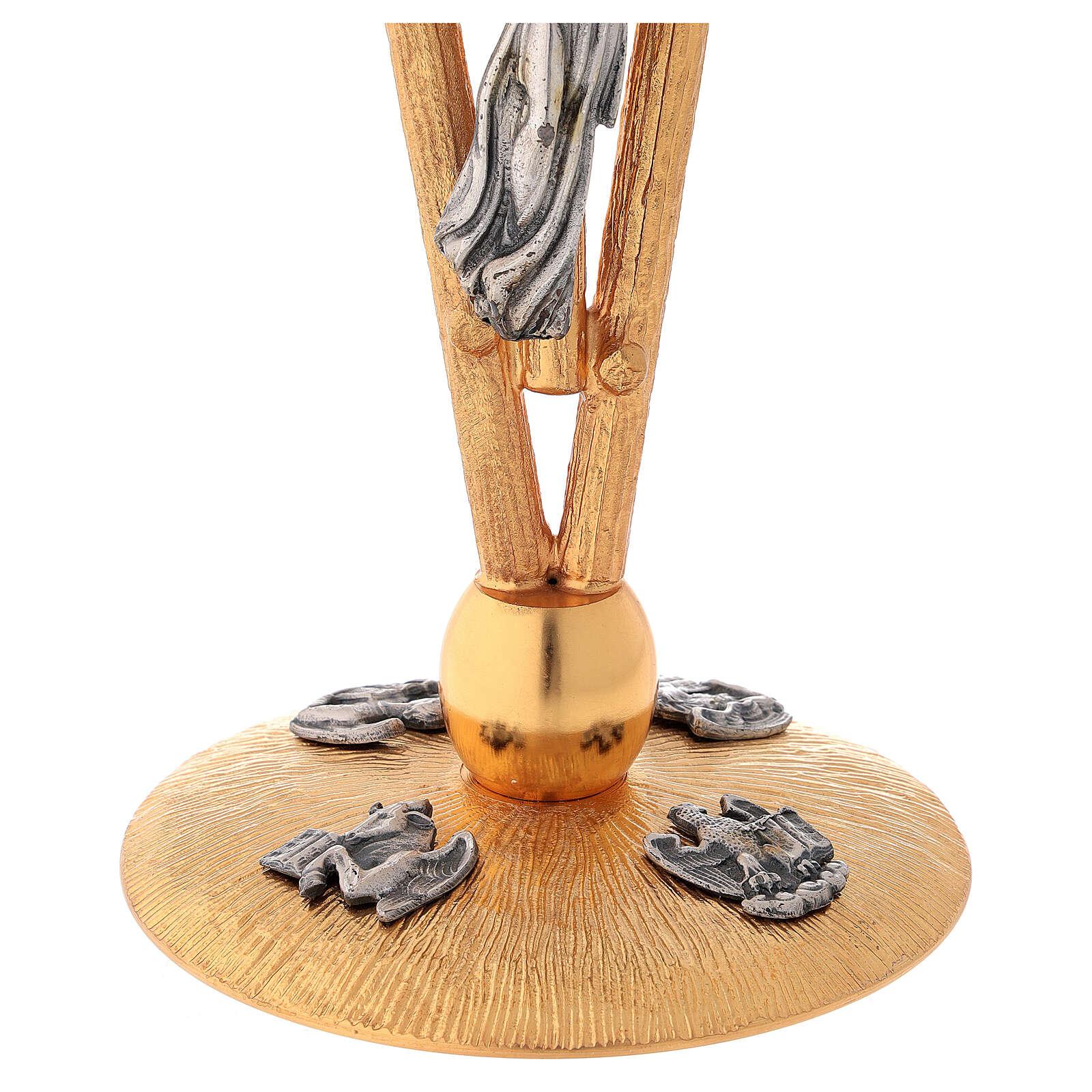 Candelabro para misa de latón 5 llamas h 30 cm 4
