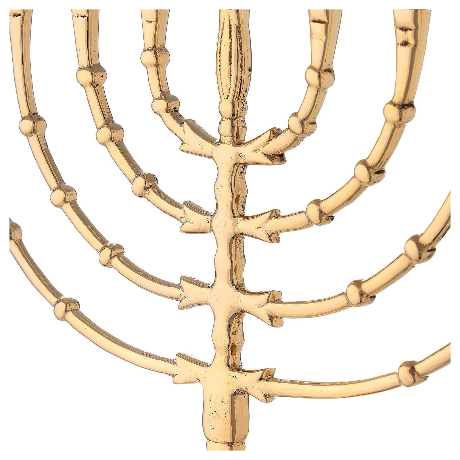 Chanukkah 9 brazos latón dorado h 32 cm 4