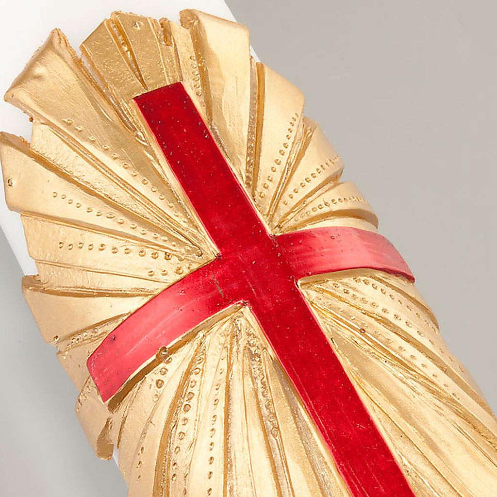 Cero pasquale bianco decoro croce su oro 3