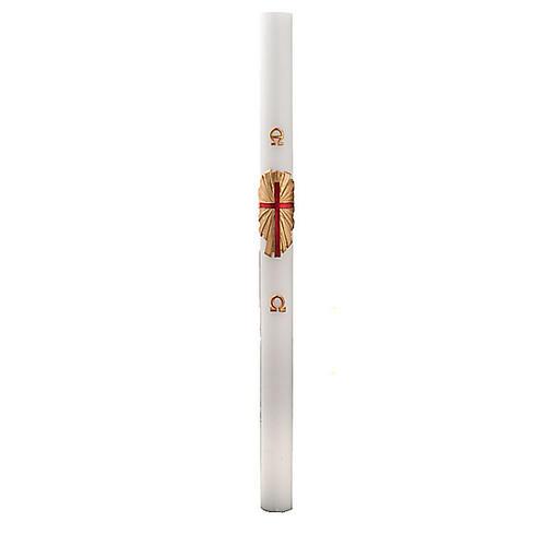 Cero pasquale bianco decoro croce su oro 2