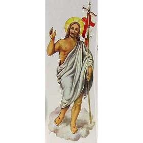 Decalcomania per cero pasquale Cristo Risorto 24 cm s1