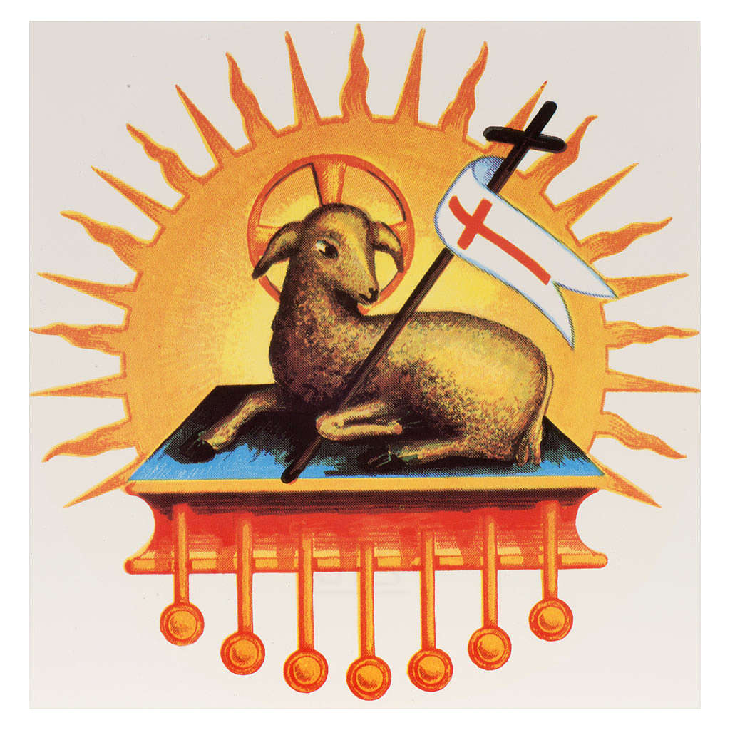 Vela Pascual: calcomanía el cordero resucitado glorioso 3