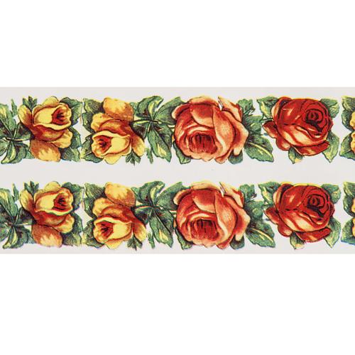 Decalcomania per cero pasquale cornice di rose 2 strisce 2