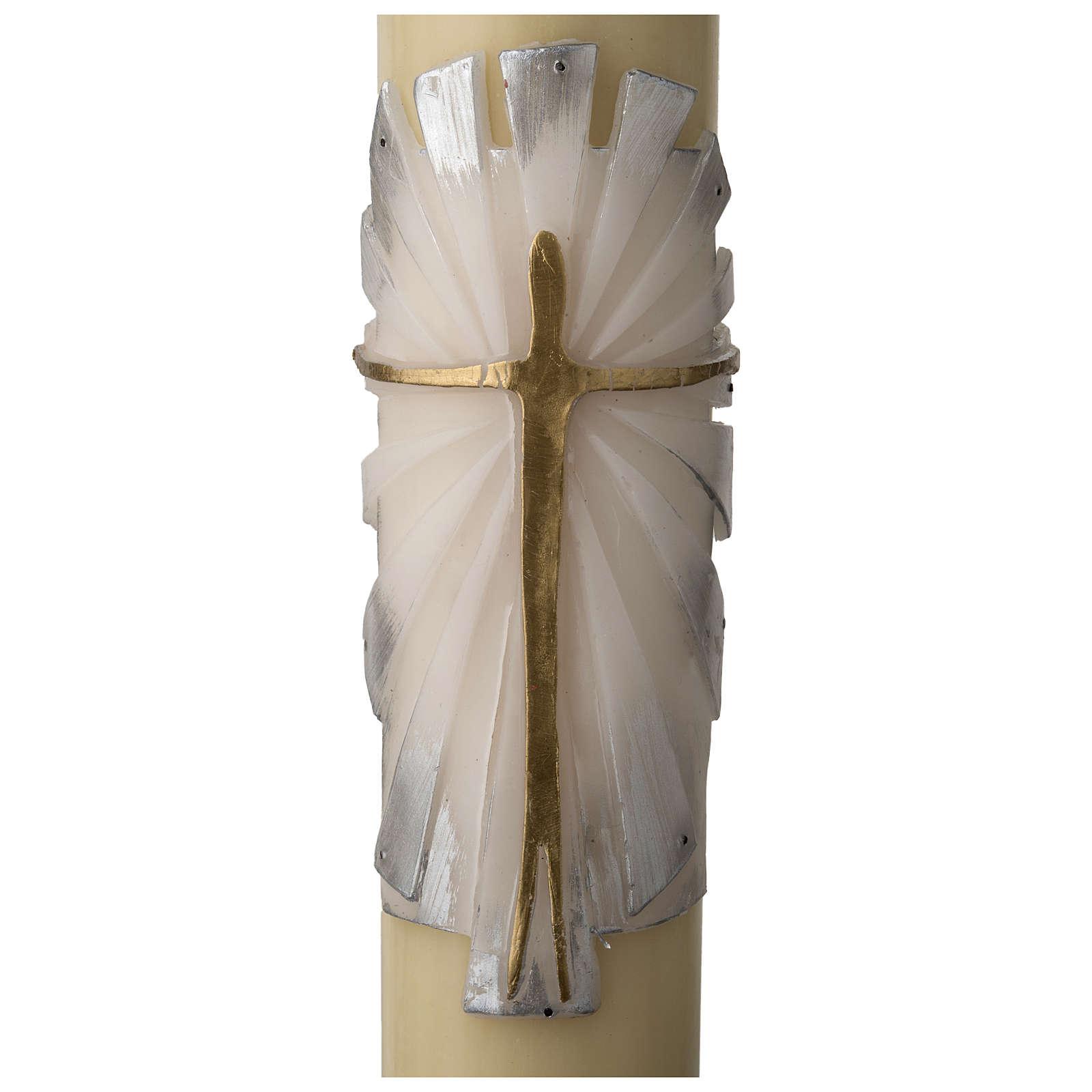 Cierge Pascal cire d'abeille Ressuscité fond blanc 3