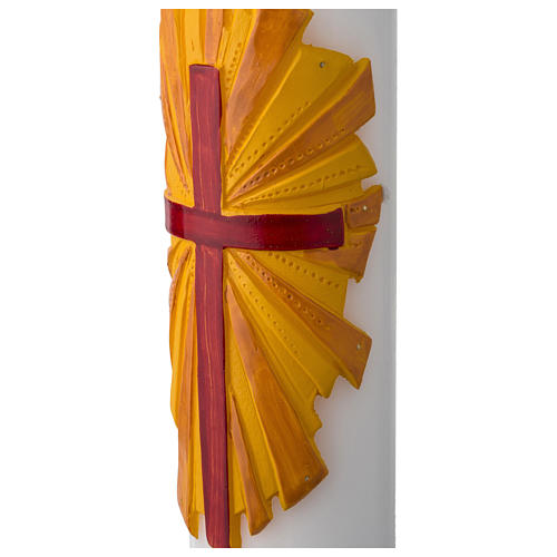 Cero pasquale bianco croce fondo giallo 4