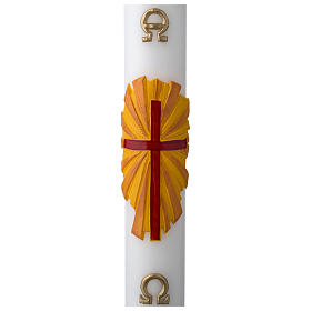 White Paschal Candle, cross with Alpha and Omega s1