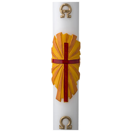 White Paschal Candle, cross with Alpha and Omega 1