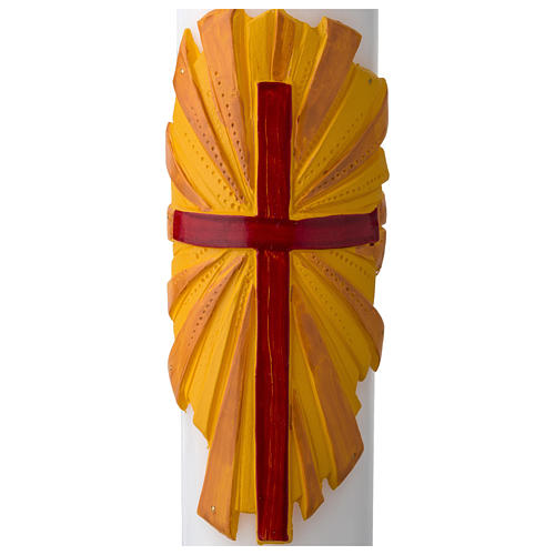 White Paschal Candle, cross with Alpha and Omega 2