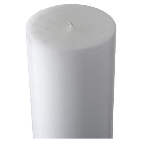 White Paschal Candle, cross with Alpha and Omega 5