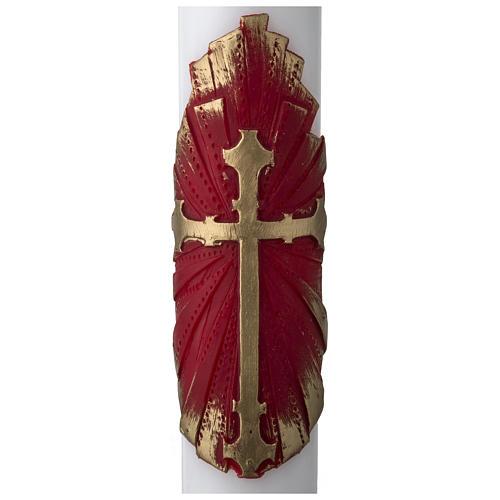 Osterkerze aus Weißwachs Dekorative Elemente rot und gold