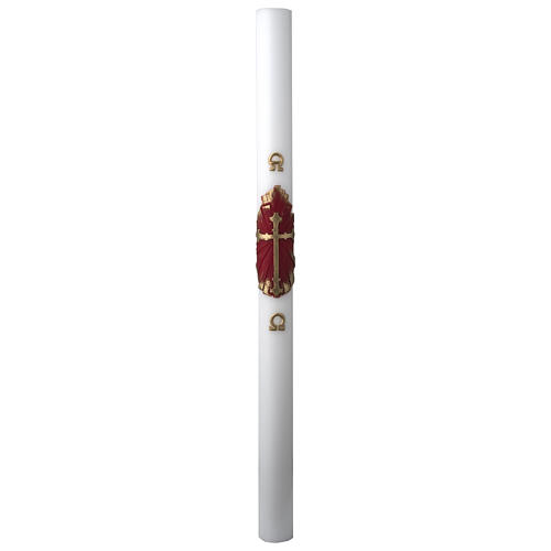 White Paschal Candle, antique cross 3