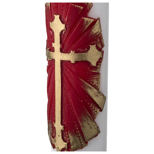 White Paschal Candle, antique cross 4