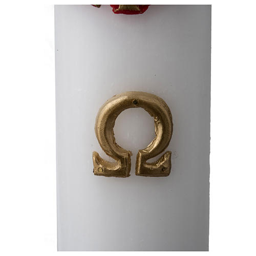 White Paschal Candle, antique cross 7