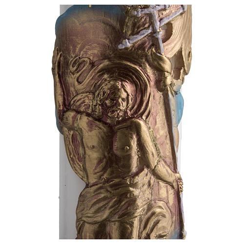 Cierge Pascal cire blanche Christ Ressuscité 8x120 4