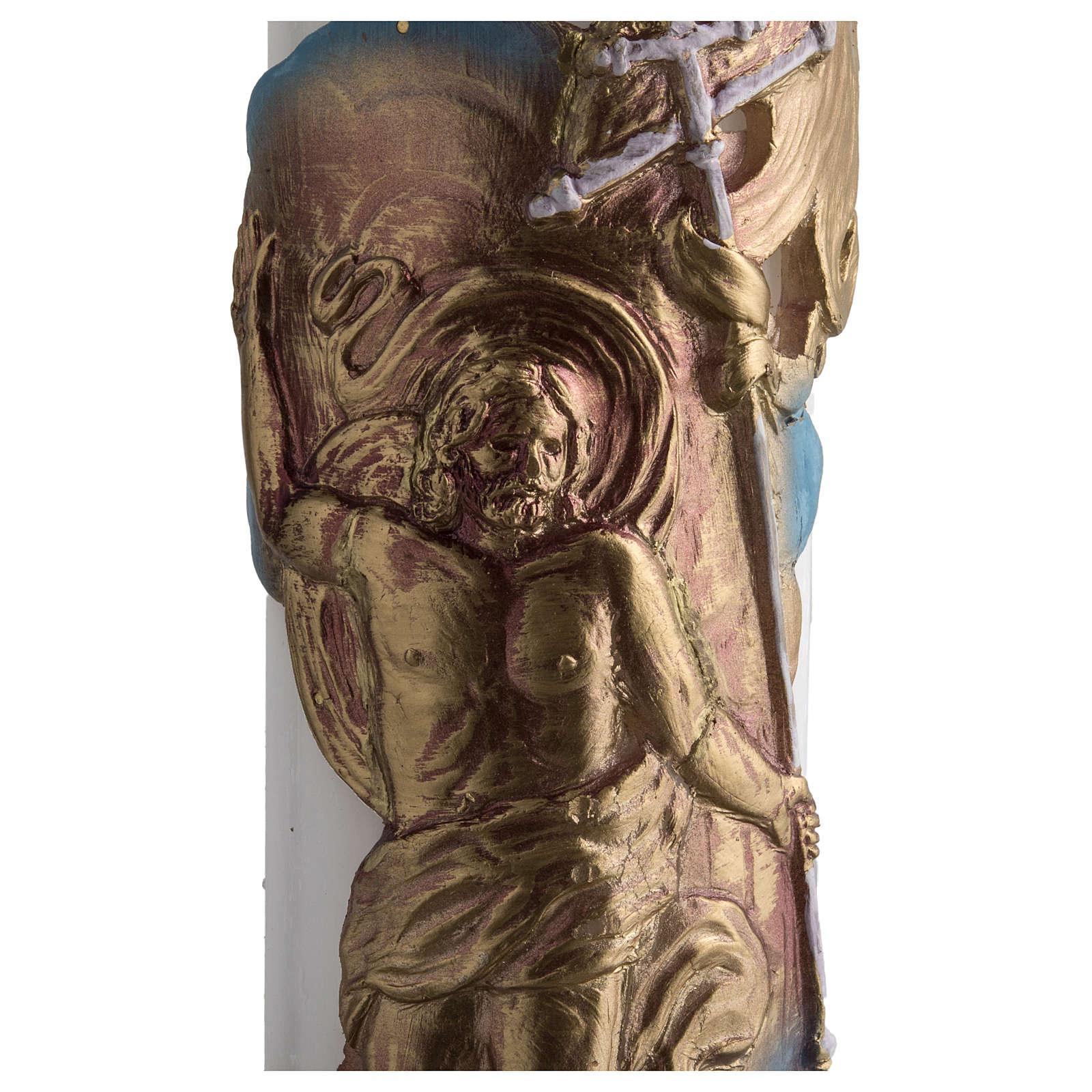 Círio pascal branco Cristo Ressuscitado 8x120 cm 3