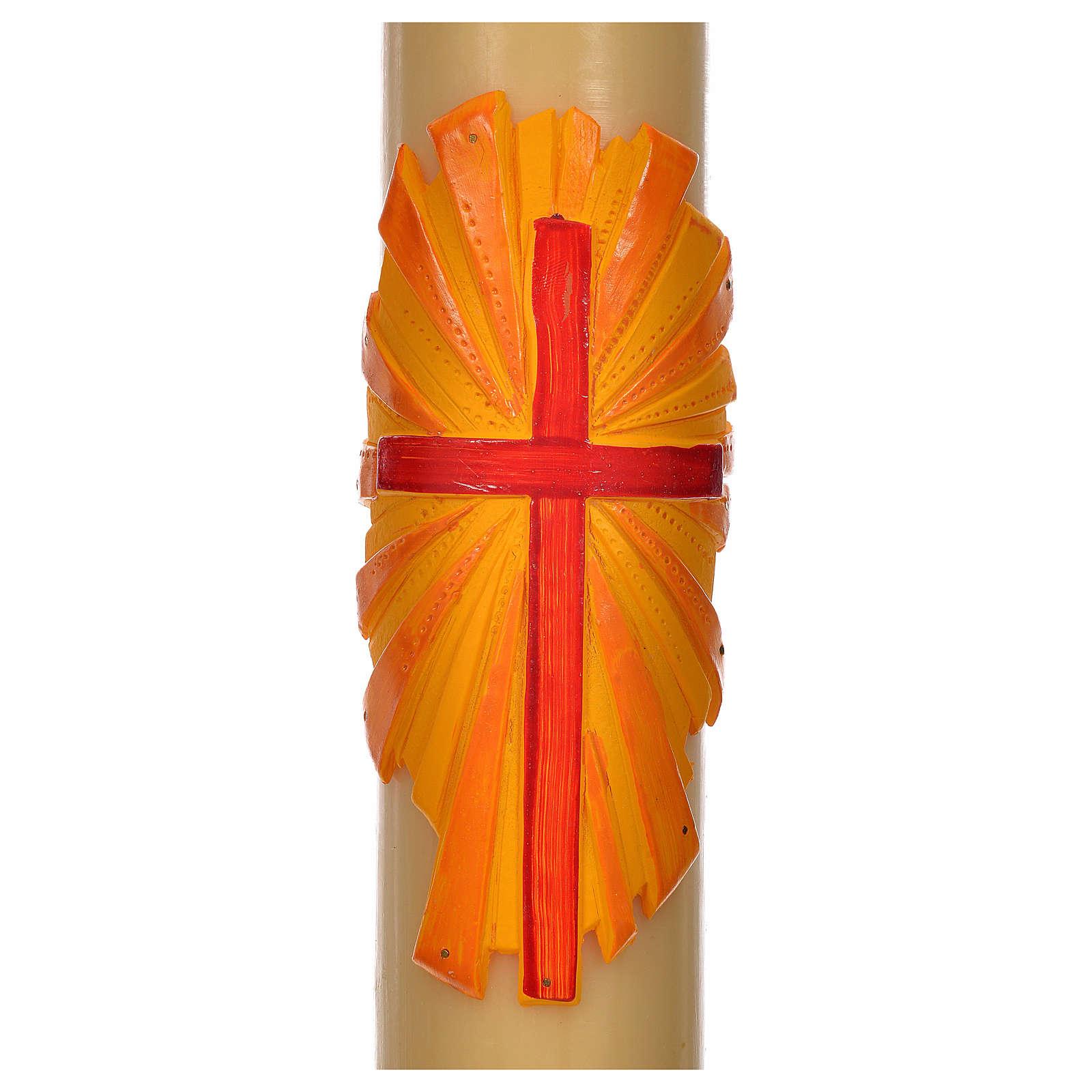 Cirio Pascual cera de abejas cruz fondo amarillo 8x120cm 3