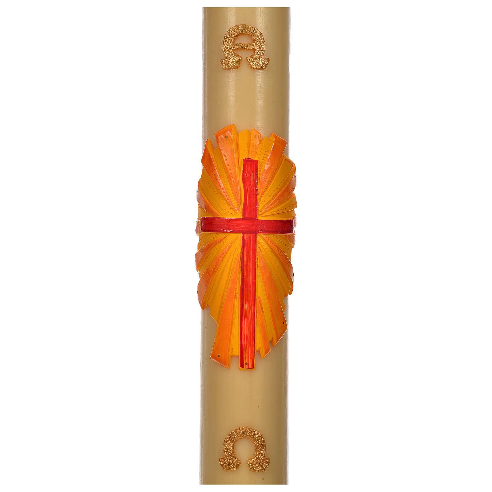 Cierge Pascal cire d'abeille croix fond jaune 8x120cm 3