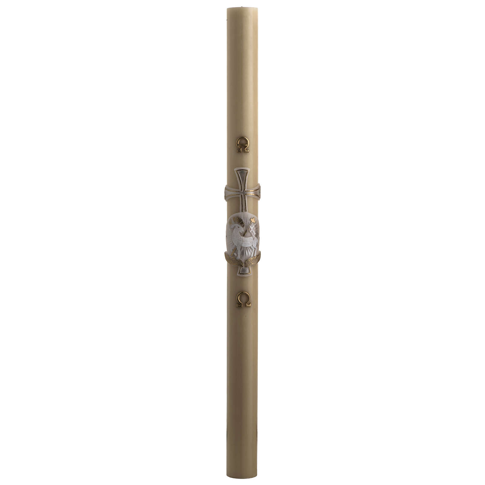 Paschal Candle, beeswax with lamb and cross, silver 8x120cm 3