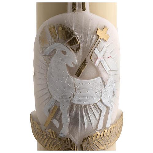 Cirio Pascual cera de abeja cordero plata cruz 8x120 cm 4