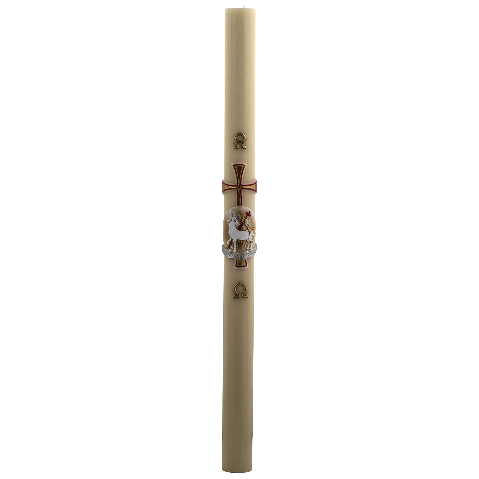 Paschal Candle, beeswax with lamb, red and gold 8x120cm 3