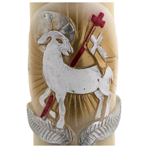Paschal Candle, beeswax with lamb, red and gold 8x120cm 4