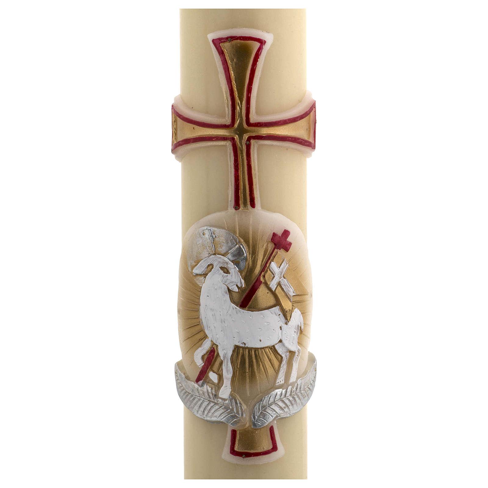 Cirio Pascual cera de abeja cordero oro y rojo cruz 8x120 cm 3