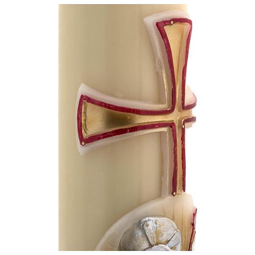 Cirio Pascual cera de abeja cordero oro y rojo cruz 8x120 cm 5