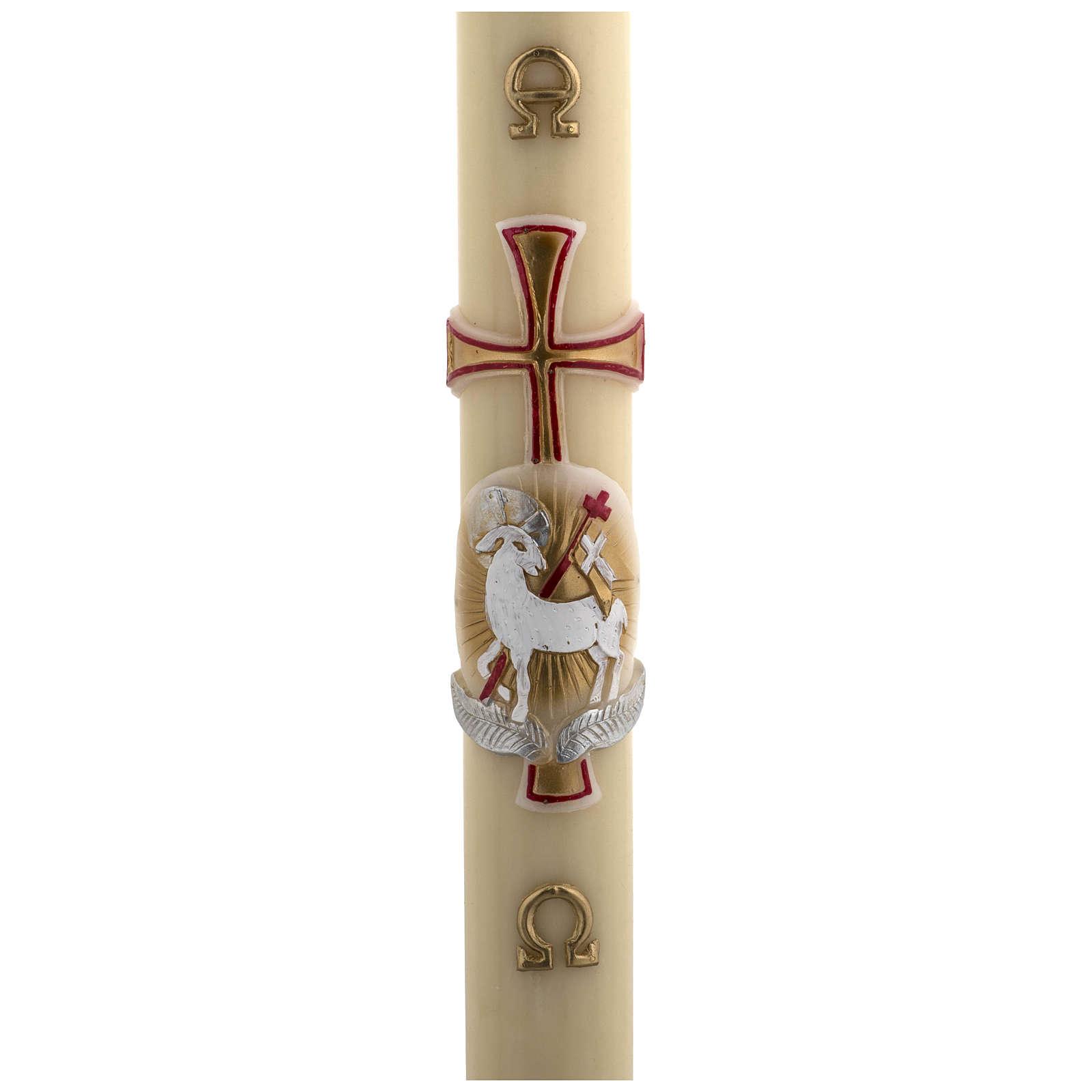 Cierge Pascal cire d'abeille agneau or et rouge croix 8x120 cm 3