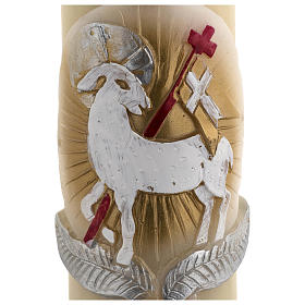 Cierge Pascal cire d'abeille agneau or et rouge croix 8x120 cm s4