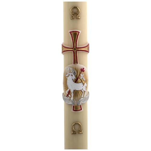 Cierge Pascal cire d'abeille agneau or et rouge croix 8x120 cm 1