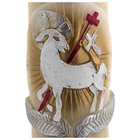 Świeca wielkanocna z wosku pszczelego Baranek Boży złotoczerwony krzyż 8 X 120cm s4