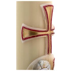 Świeca wielkanocna z wosku pszczelego Baranek Boży złotoczerwony krzyż 8 X 120cm s5