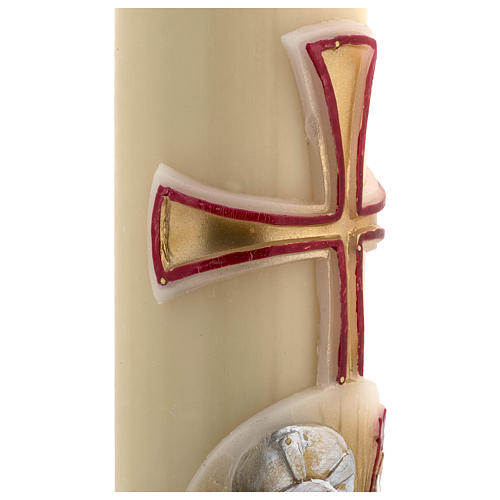 Paschal Candle, beeswax with lamb, red and gold 8x120cm 5