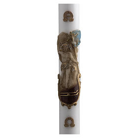 Paschal Candle, white with coloured Resurrected Christ 8x120cm s1