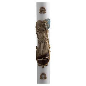 Bougies, cierges, chandelles: Cierge Pascal blanc Christ Ressuscité coloré 8x120 cm