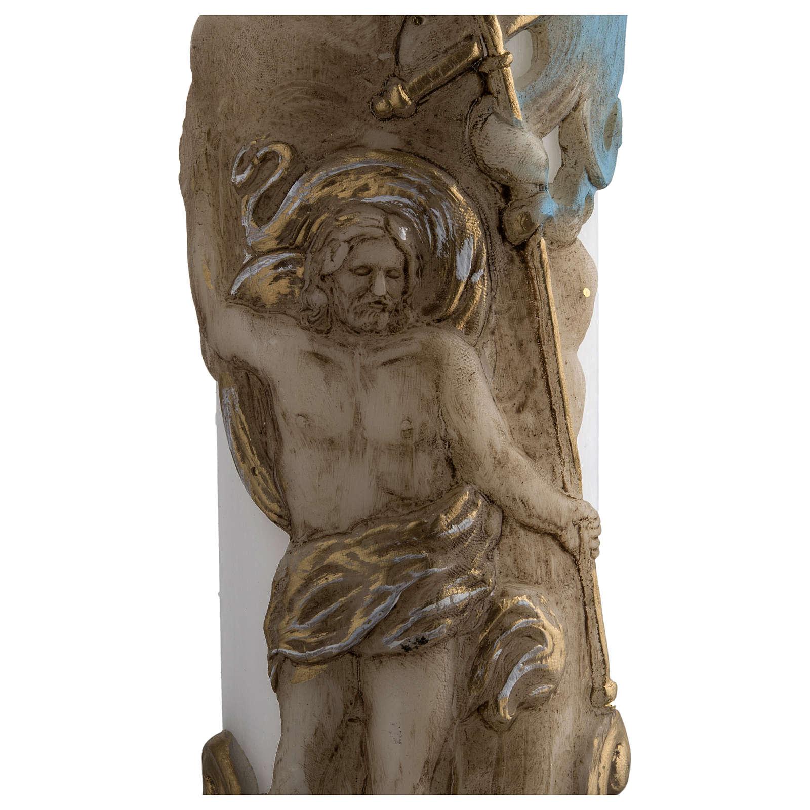Cero pasquale bianco Cristo Risorto colorato 8x120 cm 3