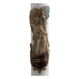 Cero pasquale bianco Cristo Risorto colorato 8x120 cm s2