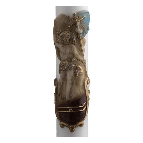 Cero pasquale bianco Cristo Risorto colorato 8x120 cm 2
