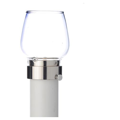 Fackel mit Windschutzglas 30cm versilbert 5cm 3