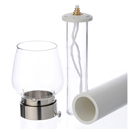 Fackel mit Windschutzglas 30cm versilbert 5cm 2