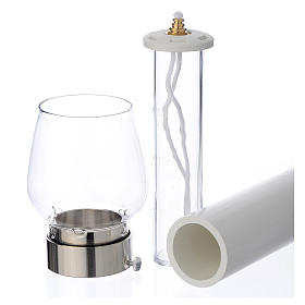 Wind-proof lamp, 30cm tall with silver base, 5cm diameter s2
