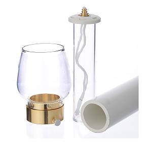 Fackel mit Windschutzglas 70cm vergoldet 4cm s3