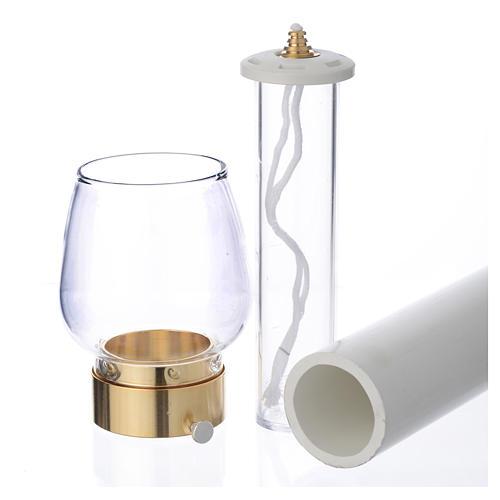Fackel mit Windschutzglas 70cm vergoldet 4cm 3