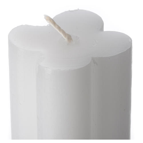 Antique torch candle 800x50x50mm in white wax, pack of 6 2